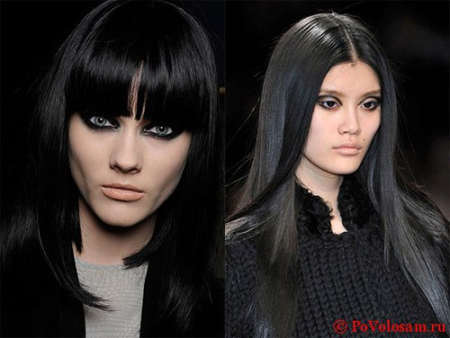 Черные волосы и макияж