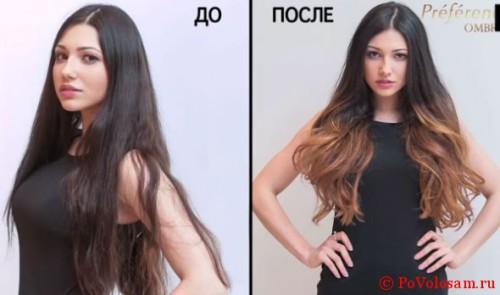 до и после омбре
