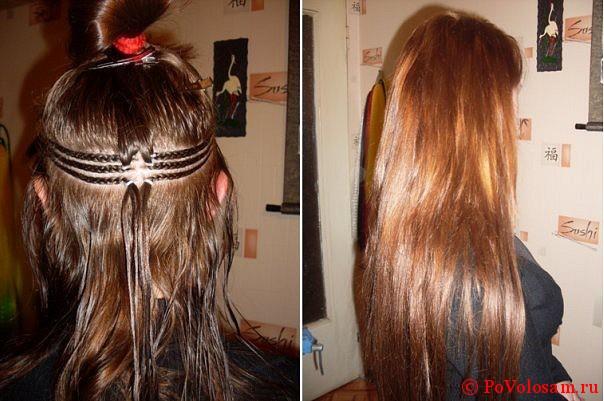 Наращивание волос на тресс