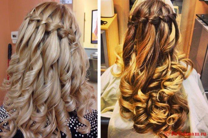 Плетение кос на длинные волосы водопадом