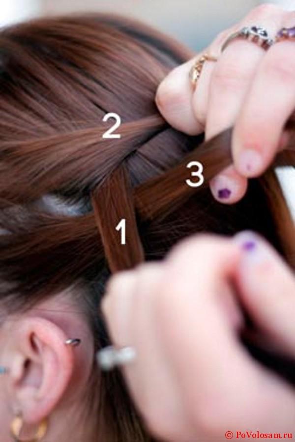 Третий шаг плетения французской косы наоборот
