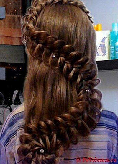 Длинные волосы с мальвинкой и косами