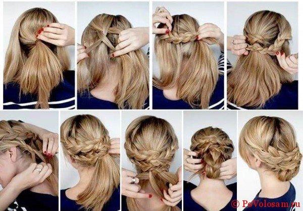 Пошаговое плетение средних волос