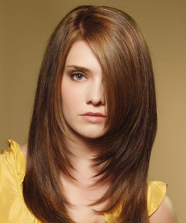 Стрижки каскад на длинные волосы для круглого лица