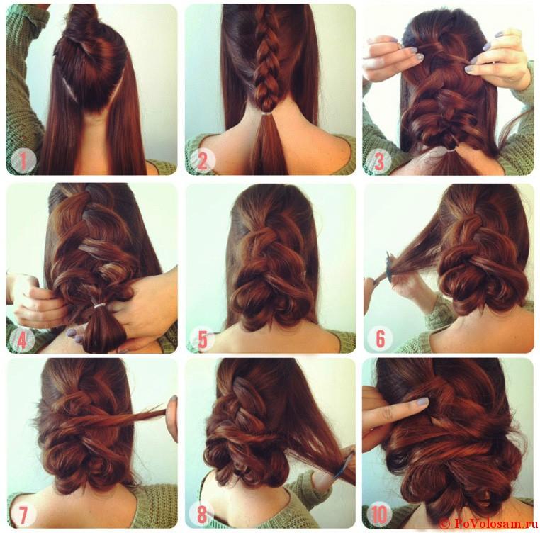 объемные прически на средние волосы с косой фото