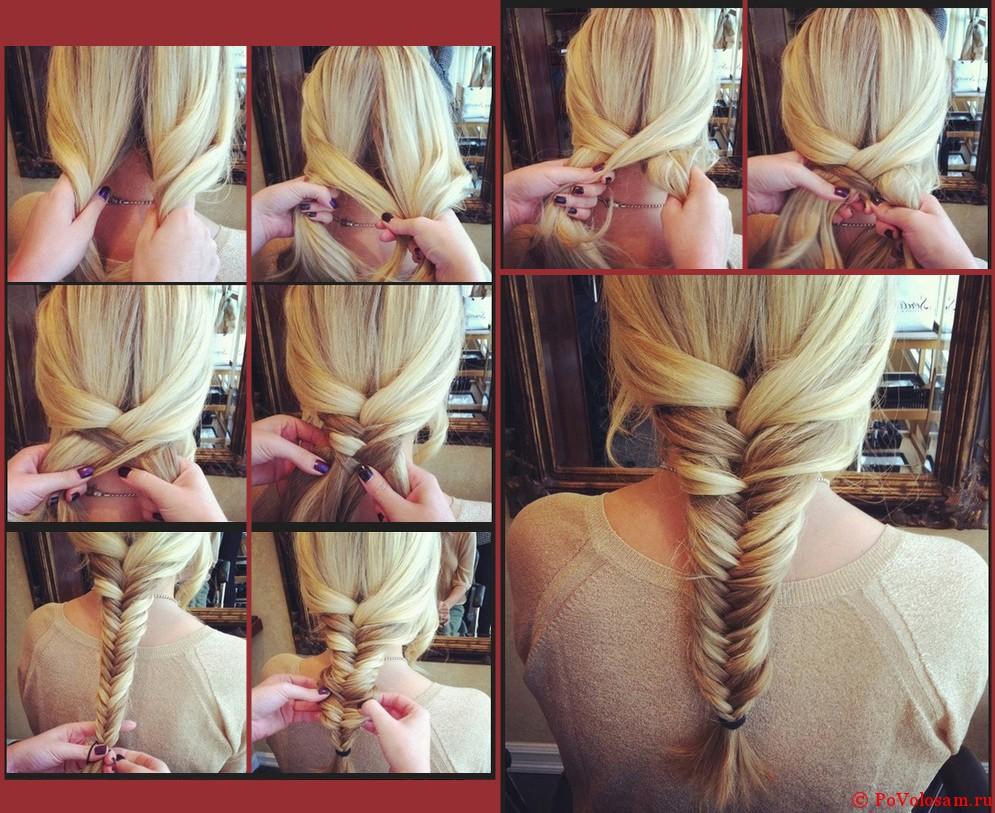 Плетение кос на средние волосы своими руками схемы.