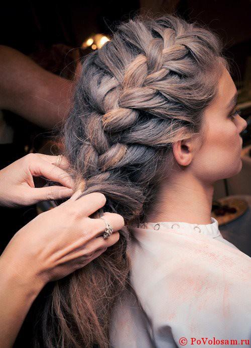 объемные косы на средние волосы фото
