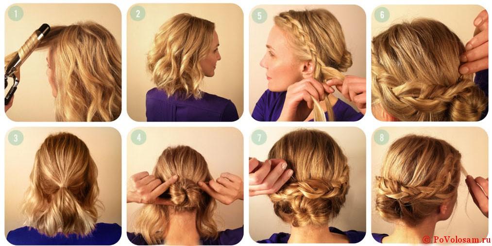 Прически коса на средние волосы в домашних условиях
