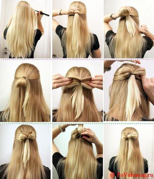 Причёска бант из волос