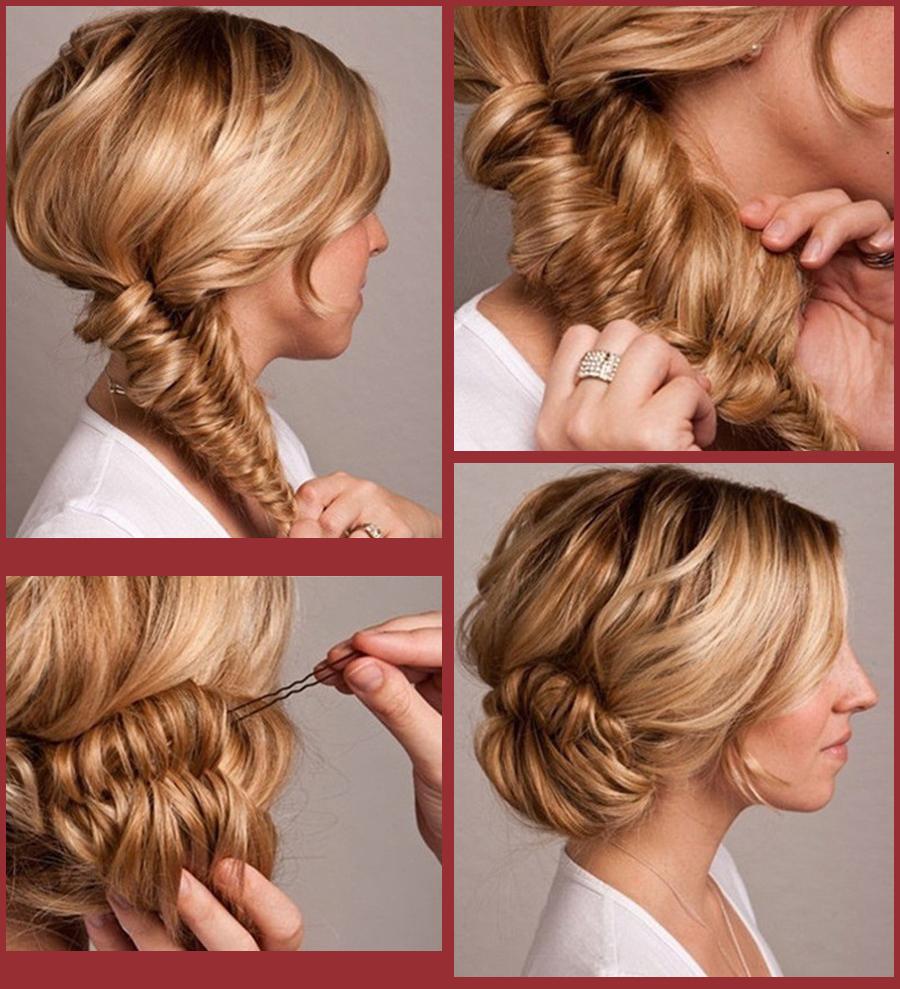 Прическа на бок на средние волосы пошаговая инструкция фото