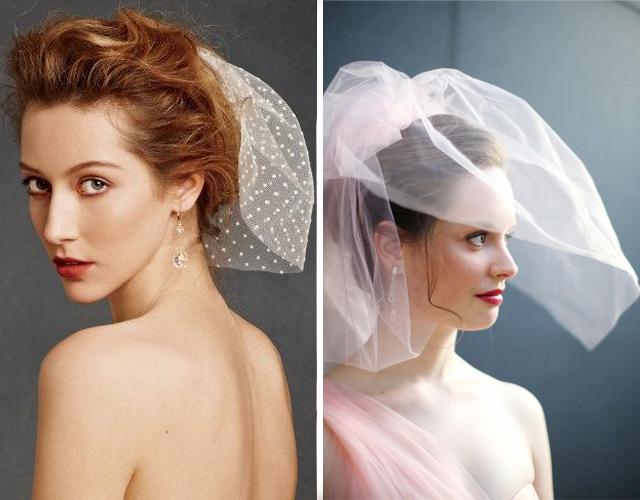 Свадебная укладка с короткой вуалью