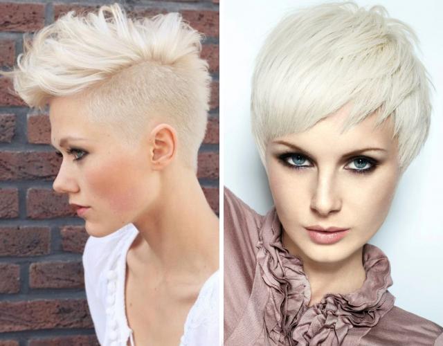 Фото коротких стрижек на белые волосы