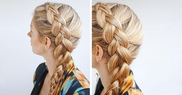 Французская коса наоборот фото