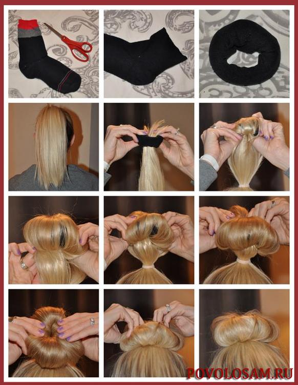 Пучки из волос с помощью носка