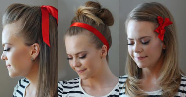 Причёски с лентами в волосах