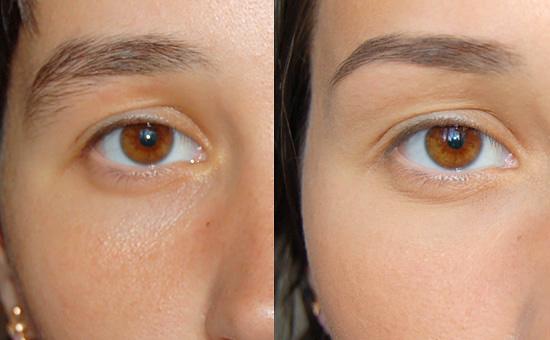 Корректирование бровей, до и после