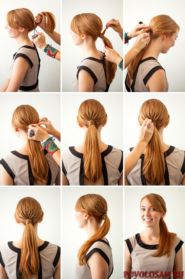 прически с одной резинкой на средние волосы