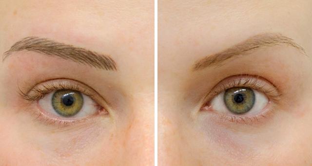 Перманентный макияж бровей, волосковый, фото до и после