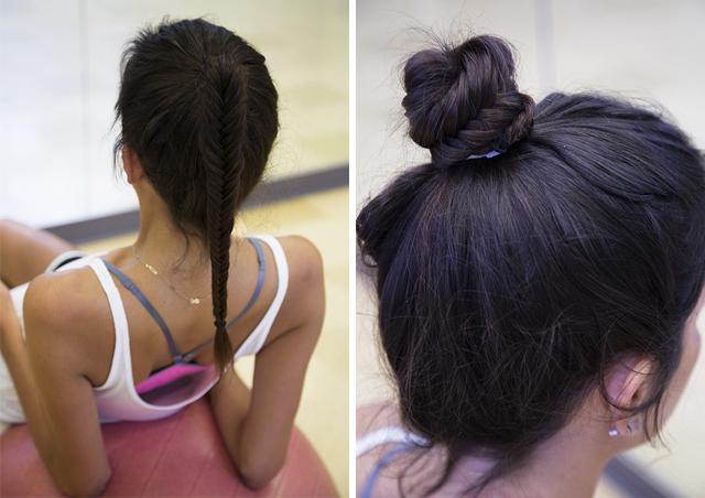 Коса и пучок для фитнеса