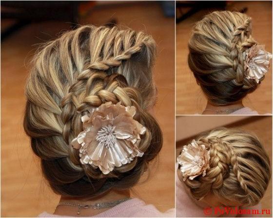коса с цветком