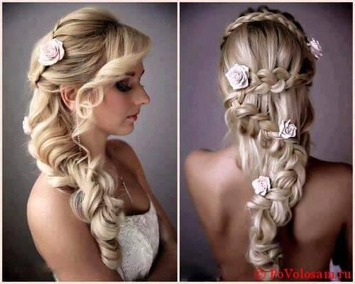 Фотографии красивых вариантов причесок на свадьбу с косами и плетением
