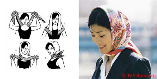 платок на голове узлом назад
