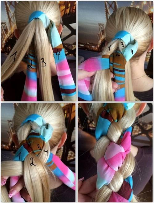 коса с платком