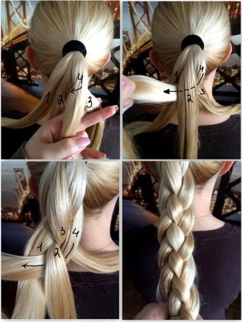 Коса на 4 пряди