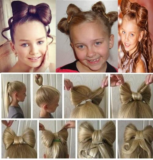 бантик из собственных волос девочке