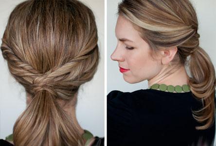 Хвост для волос средней длины