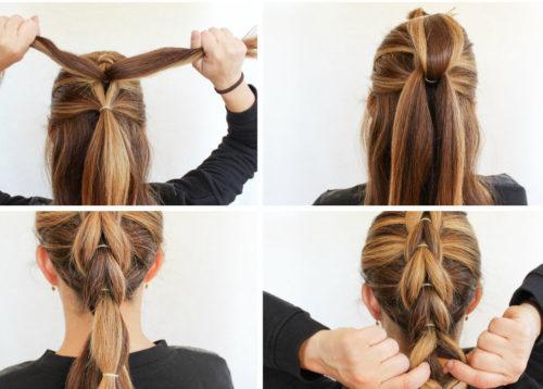 Как сделать косу из хвостиков пошагово