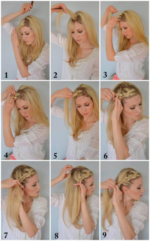 коса вокруг головы - начало плетения