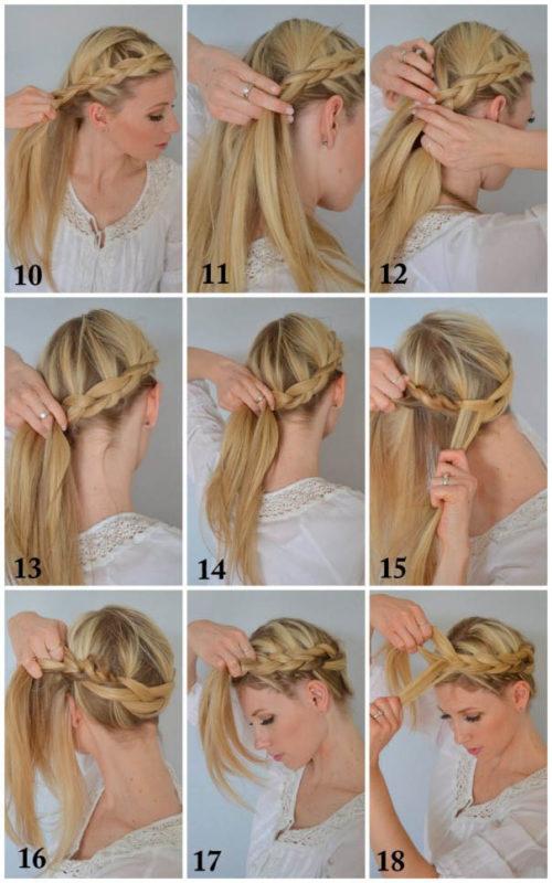 коса вокруг головы - окончание плетения