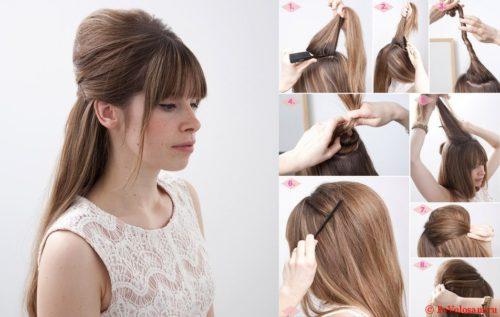 Прическа на средние волосы с начесом