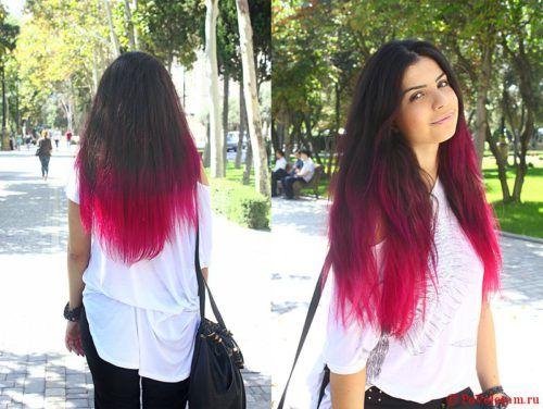 красные концы волос