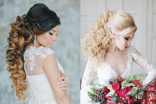 накрученные свадебные прически