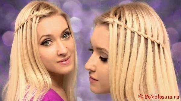 Водопад на прямых волосах