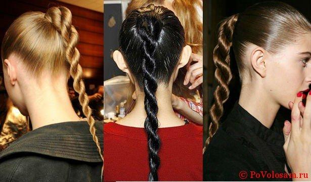 Жгут на длинных волосах