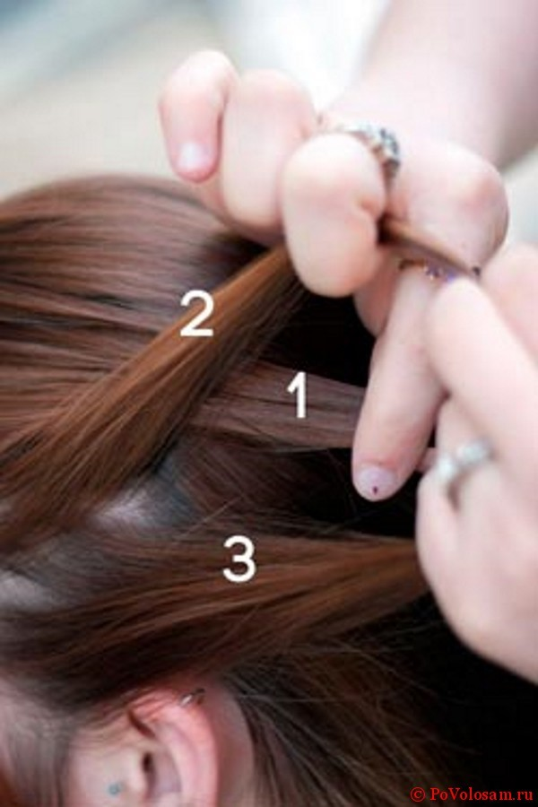 Второй шаг плетения французской косы