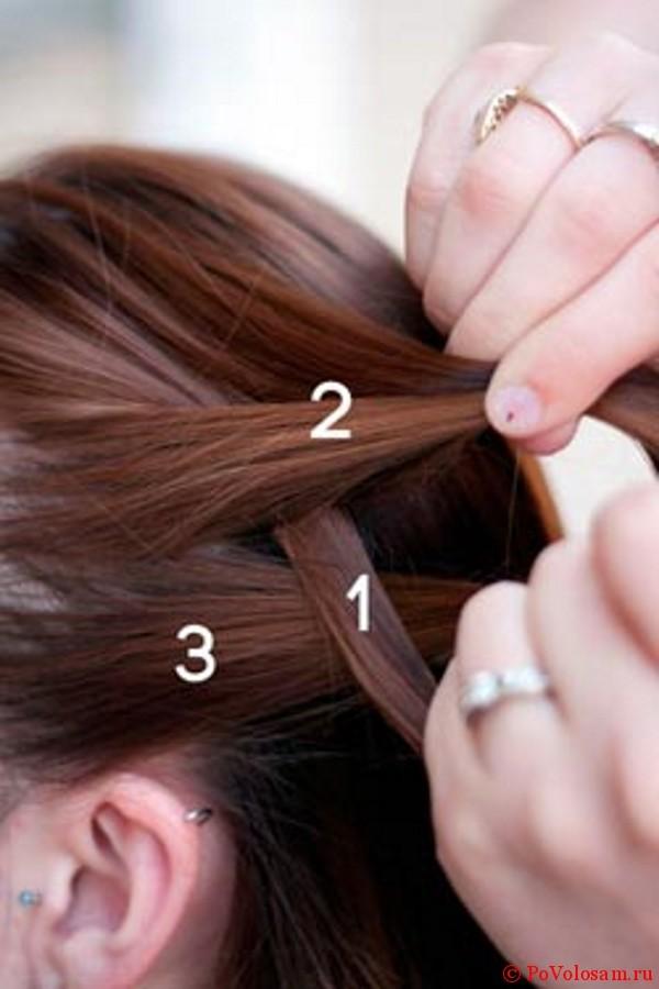 Четвертый шаг плетения французской косы наоборот