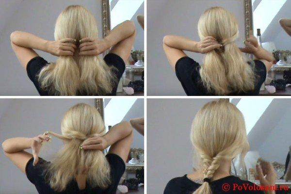 Самостоятельное плетение на средние волосы