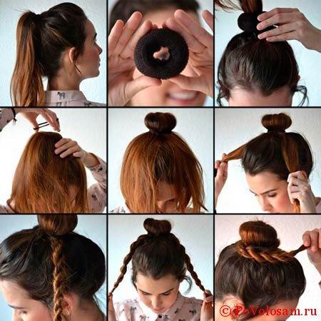 косы на пучке