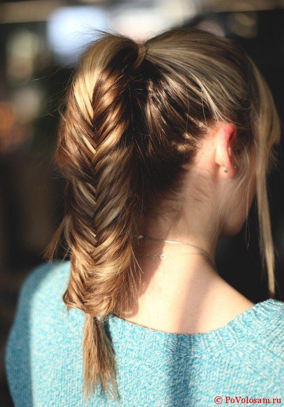 Красивая коса на длинных волосах