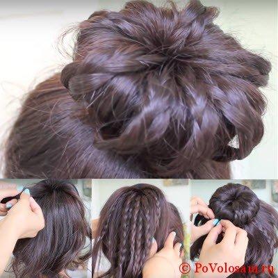 праздничный вариант с косами