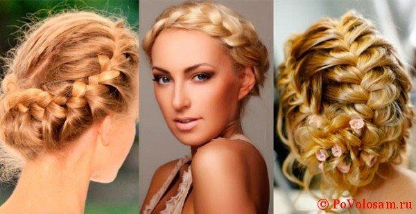 Примеры плетений на средние волосы