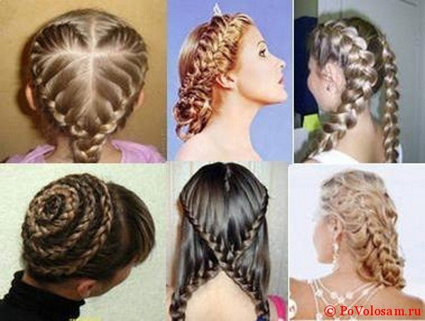 Варианты плетения на средние волосы