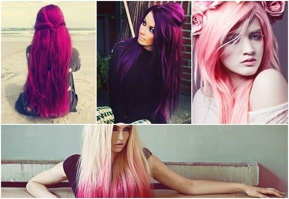 цвет фуксии на волосах